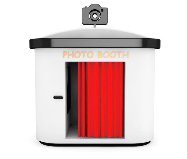 白い背景の上の赤いカーテンと写真ブース