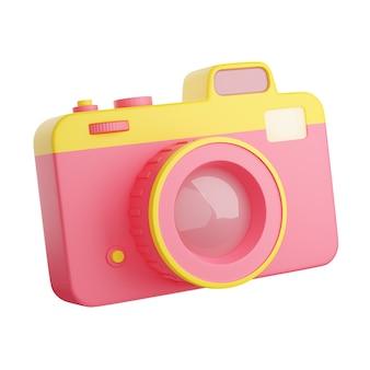 사진 카메라 3d 렌더링 그림입니다. 흰색 배경에 분리된 렌즈와 플래시가 있는 분홍색 및 노란색 소형 디지털 포토카메라. 사진 또는 동영상 캡처 장비.