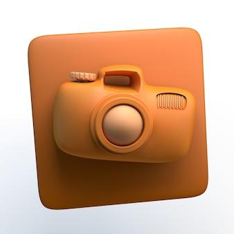 격리 된 흰색 배경에 사진 카메라 아이콘입니다. 3d 그림입니다. 앱.