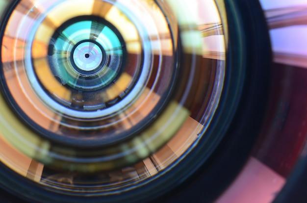 Photo camera lens close up