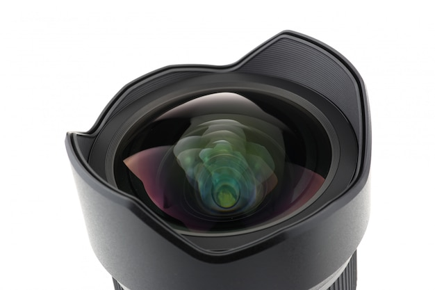 Photo camera lens front view over white background