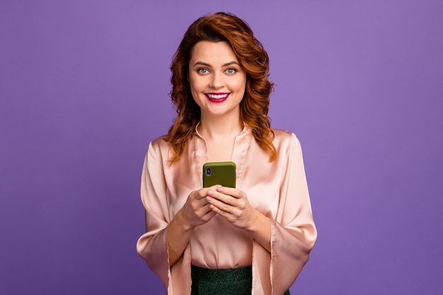 Photo of charming chic lady hold telephone  texting