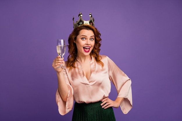 Photo of charming funny pretty chic lady hold sparkling wine glass tell toast