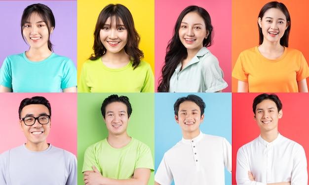 陽気なアジアの若者の写真のコラージュ