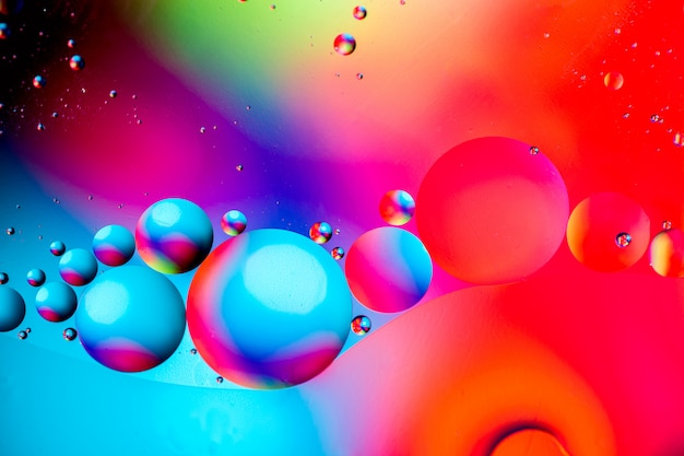 Photo of colorful bubbles of oxygen in water