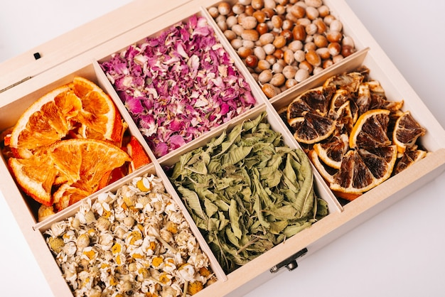 Photo of different types of tea box, colorful tea box