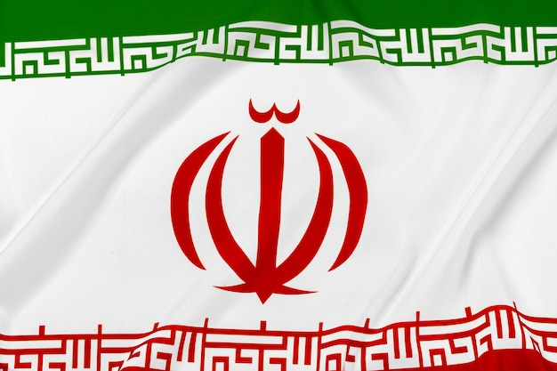 Photo of fabric flag of iran close up