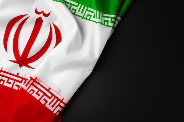 Photo of fabric flag of iran close up