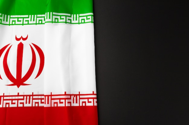 Photo of fabric flag of iran, close up