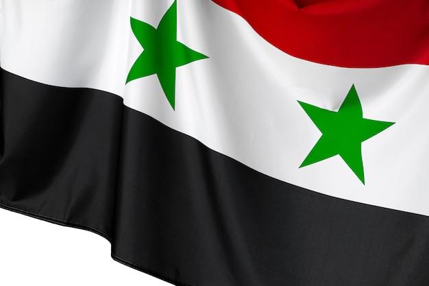 Photo of fabric syria flag close up