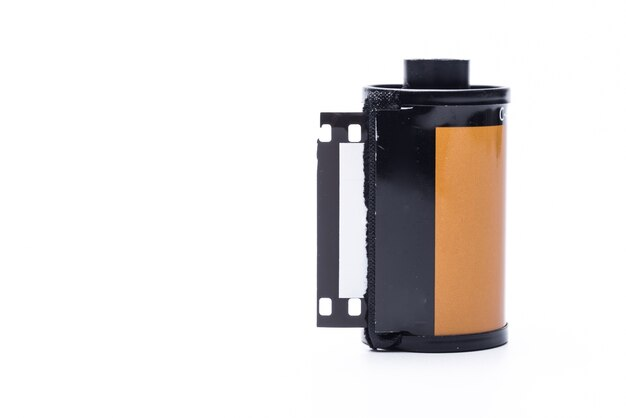Photo film in cartridge isolated on white background.