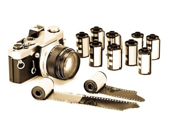 Photo film cartridges on white