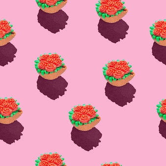 Photo in the form of a seamless pattern red flowers in a green basket with shadows on a colored pink