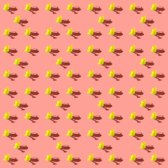 Photo in the form of a seamless pattern yellow watering can for watering flowers with shadows