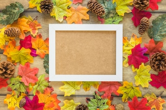 Photo frame between foliage and snags