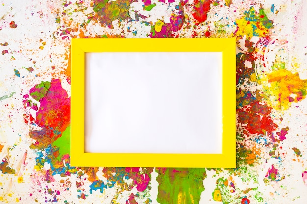 Photo frame between bright dry colors