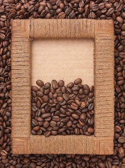 Photo frame of coffee beans