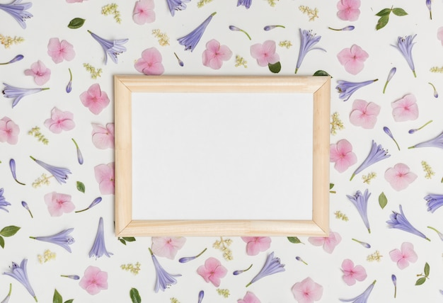 Photo frame between collection of wonderful violet flowers and green foliage