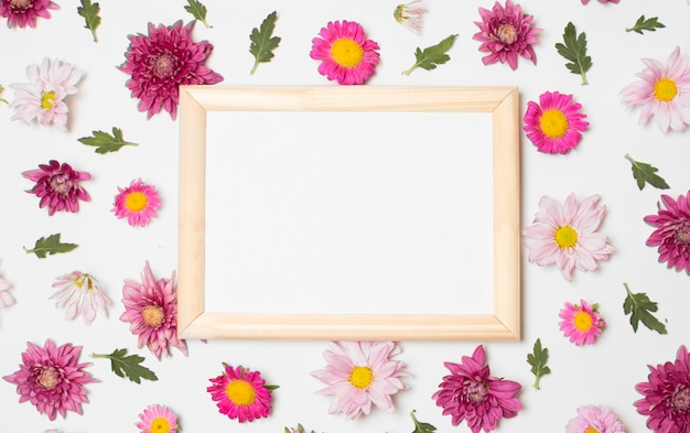 Photo frame between composition of wonderful bright flowers and green leaves