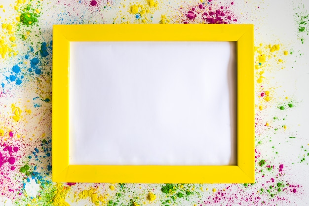 Photo frame between different bright dry colors