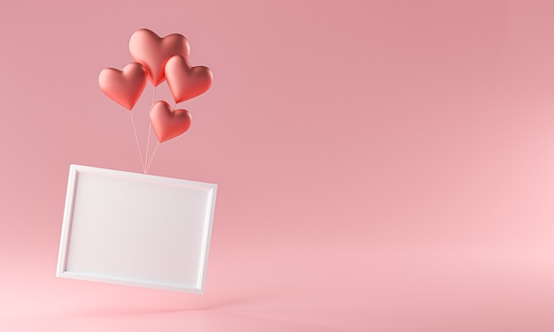 Photo frame flying with love heart ballon mockup template copy space 3d rendering
