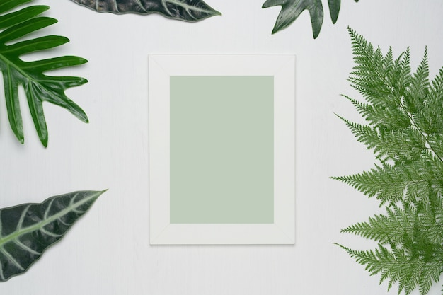 Photo frame and green leaves on a white wooden background