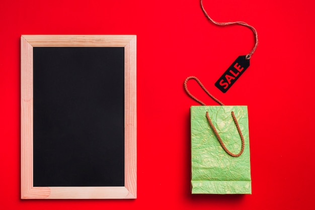 Photo frame, green packet and label