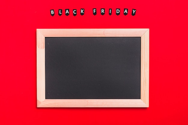 Photo frame and labels with black friday inscription