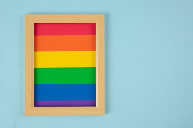 Photo frame, lgbt simbol, homosexual on blue background