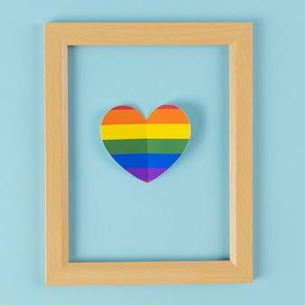Photo frame, lgbt symbol, homosexual on blue background