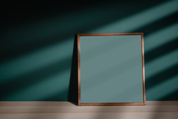 Photo frame mockup image. included clipping path. frame is on the floor in house