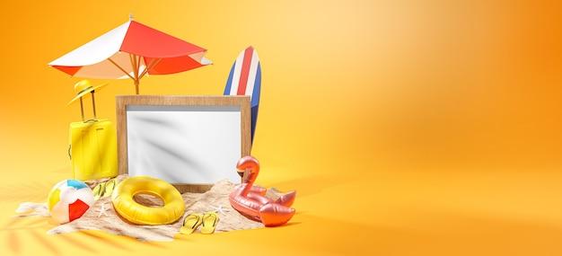 Photo frame mockup summer banner design yellow background 3d rendering