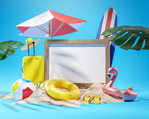 Photo frame mockup summer beach accessories blue background copy space 3d rendering