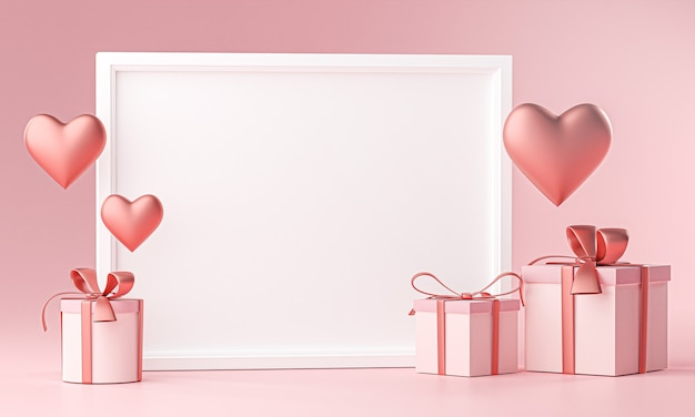 Photo frame mockup template love heart ballon and gift box 3d rendering