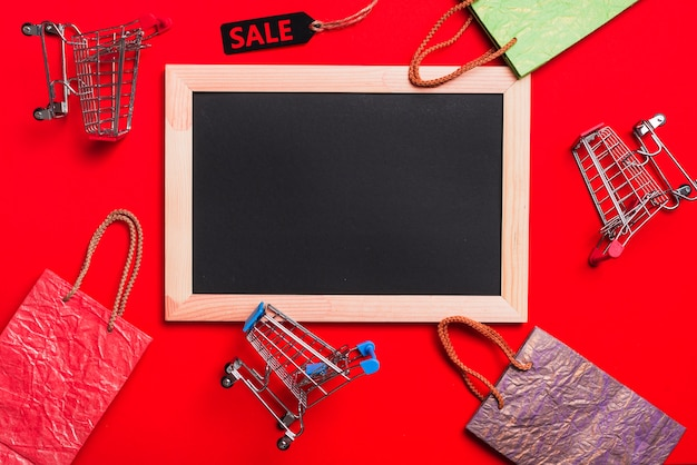 Photo frame, shopping trolleys, packets and labels