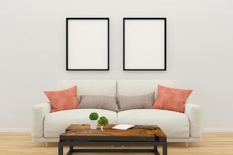 Photo frame sofa wood table floor living room interior background