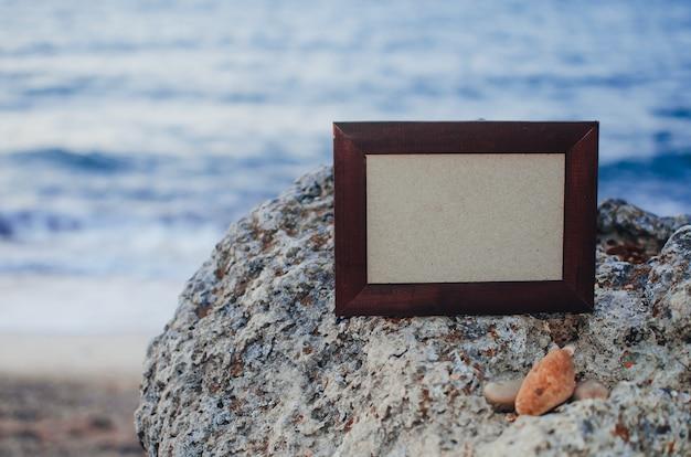 여름에는 포토 프레임 스톤, 석양의 바다는