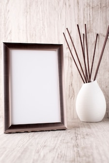 Photo frame on the table, the interior decor.