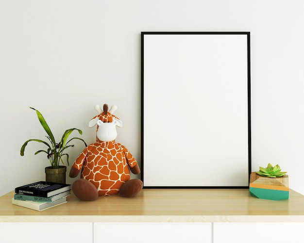 Photo frame with giraffe on the desk