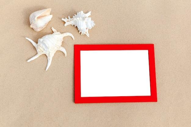바다 여행의 추억 조개와 모래에 사진 프레임