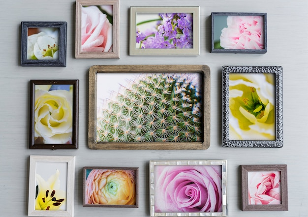 Photo frames with flowers on gray background