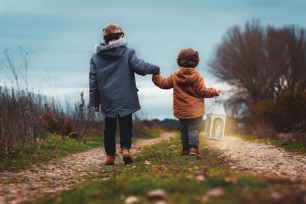秋に手をつないでフィールドの道路に沿って道に迷って歩いている2人の男の子の後ろからの写真