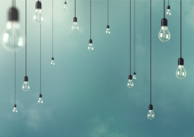 Photo of hanging light bulbs with depth of field