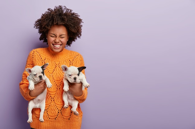 Photo of happy afro american woman holds two month puppies, gives to people in right hands, wears warm orange sweater. curly girl with her beloved pedigree dogs. animal communication concept