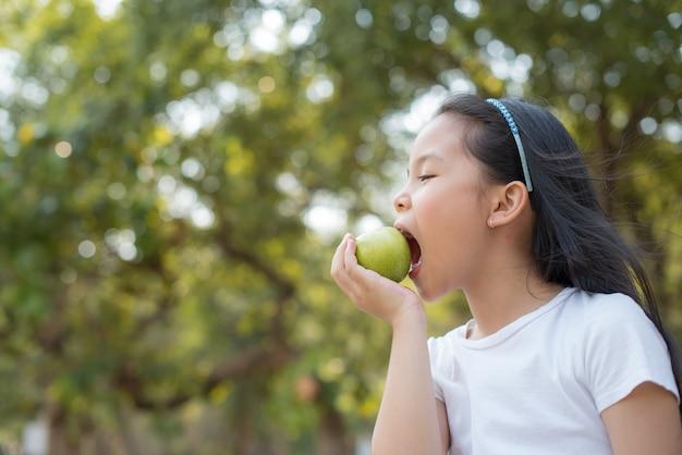 写真幸せな小さなアジアの女の子の子供が大きな笑顔で立っています。あなたの手で青リンゴを持って抽象的なぼやけた葉と明るい夏の日光と新鮮で健康的な緑のバイオ自然