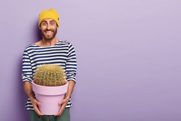 Photo of happy man with pleasant smile, holds pot of prickly cactus, being in good mood, dressed in striped sweater, poses against purple background with free space