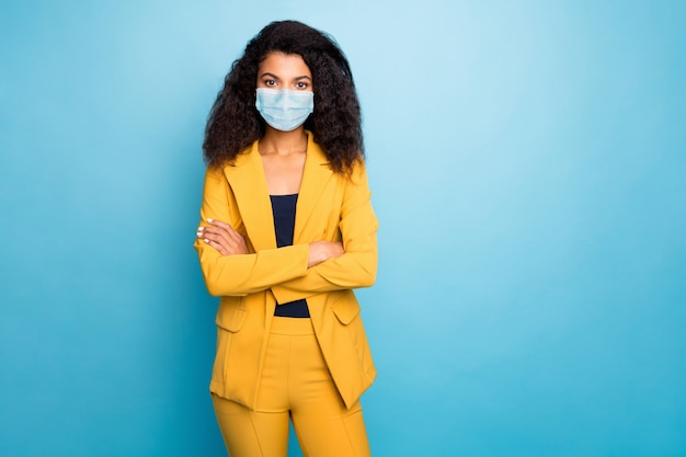 Photo of luxury lady folded arms wearing safety mask preventive measures unemployed jobless