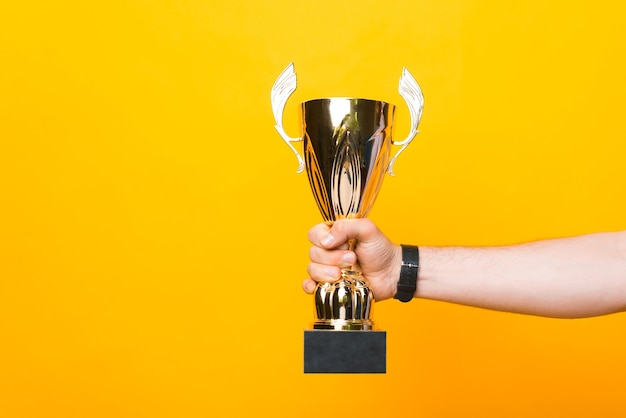 Photo of male hand holding champion cup over yellow background