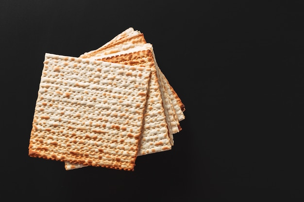 A photo of matzah or matza pieces. matzah for the jewish passover holidays.
