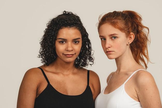 Photo of natural multiracial women, body positive.